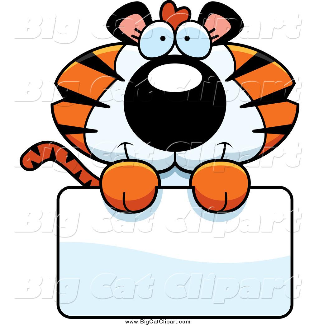 1024x1044 Big Cat Cartoon Vector Clipart Of A Cute Tiger Cub Over A Sign By