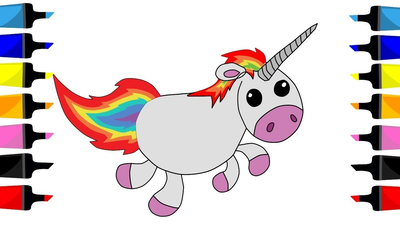1280x720 How To Draw Unicorn With Rainbow Hair Cute Painting For Kids