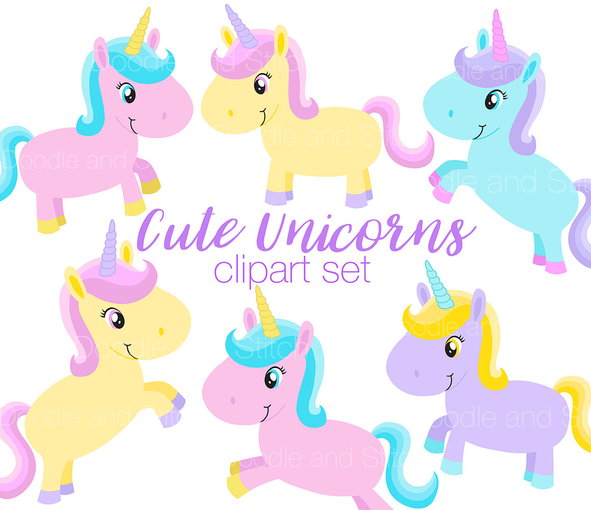 1159x1000 Unicorn Clipart Set, Cute Unicorns Clip Art Illustrations, Pastel