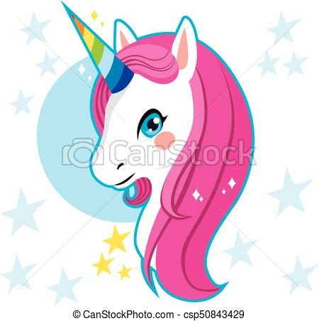 450x452 Cute Magic Unicorn Head With Rainbow Horn And Pink Hair Vector