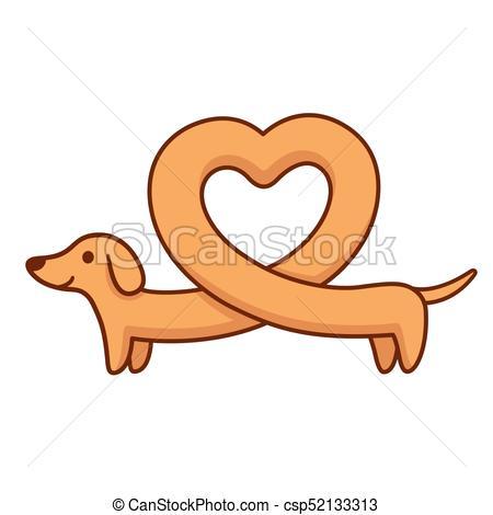 450x470 Heart Shaped Dachshund. Cute Cartoon Dachshund With Heart Shaped