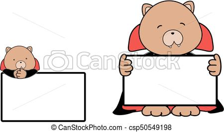 450x266 Cute Baby Teddy Bear Cartoon Halloween Vampire Costume Eps