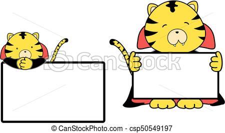 450x266 Cute Baby Tiger Cartoon Halloween Vampire Costume Singboard Eps