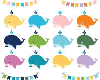 340x270 Whales Clipart Set Pastel Whales Clip Art Cute Whales