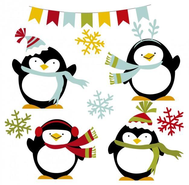 626x613 Happy Winter Penguins Vector Free Download
