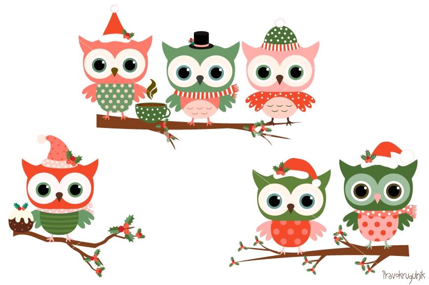870x579 Christmas Owls Clipart Set, Cute Owl Clip Art, Winter Holiday Owls