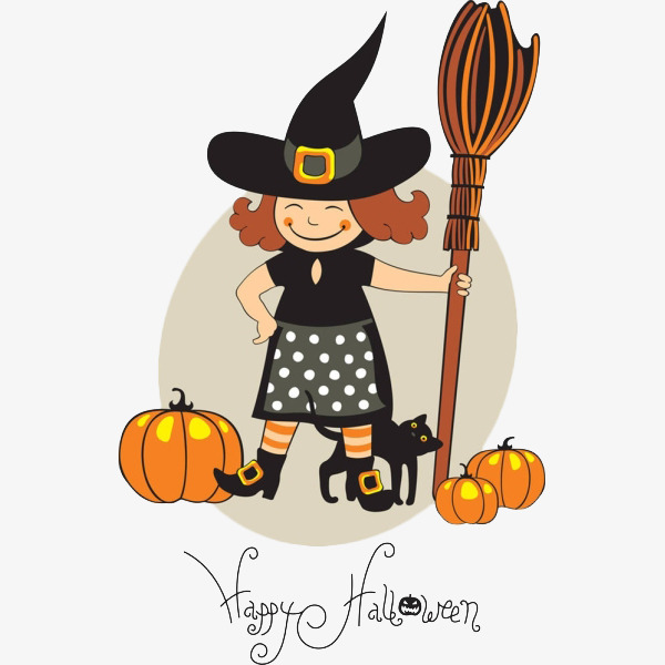 600x600 Cute Little Cartoon Witch, Magic Broom, Magic, Fairy Tale Png