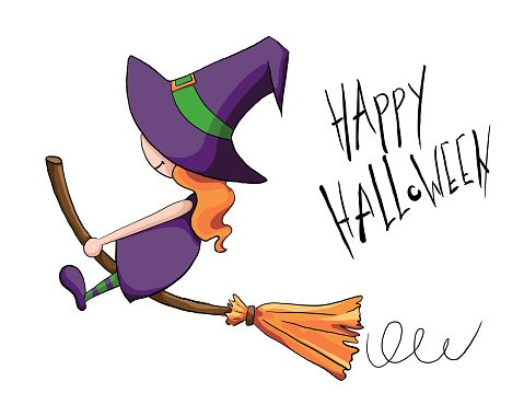 479x359 Cute Little Witch Flying On A Broomstick Premium Clipart