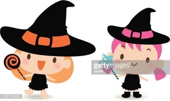 334x200 Cute Witch Holding Lollipop And Magic Wand Stock Vectors