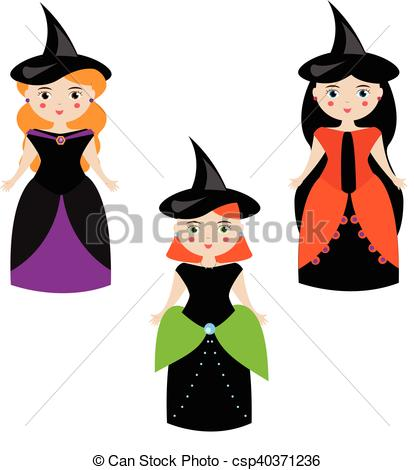414x470 Cartoon Cute Witches Characters In Dresses And Hats. Girls