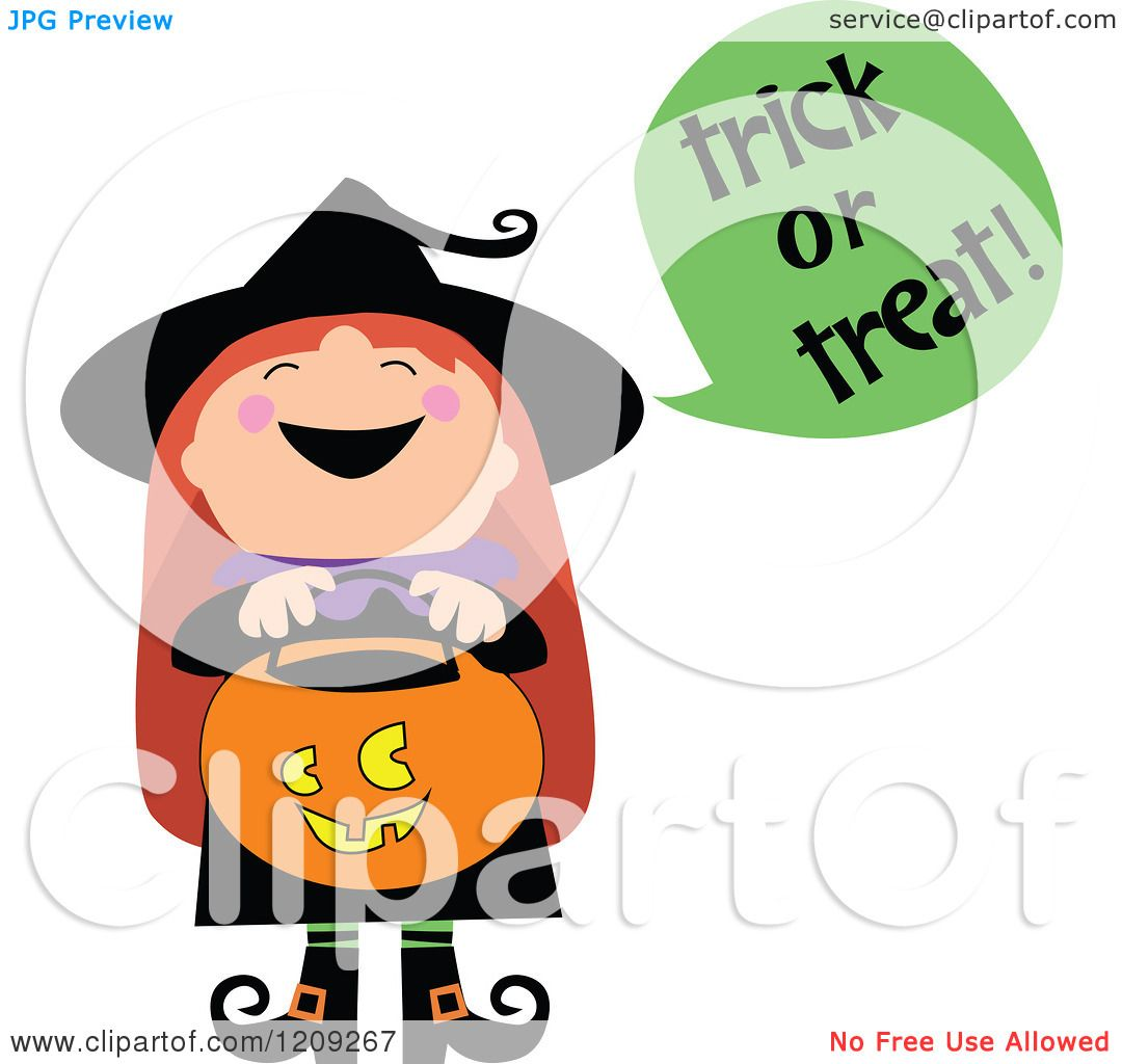 1080x1024 Cartoon Of A Cute Halloween Witch Shouting Trick Or Treat