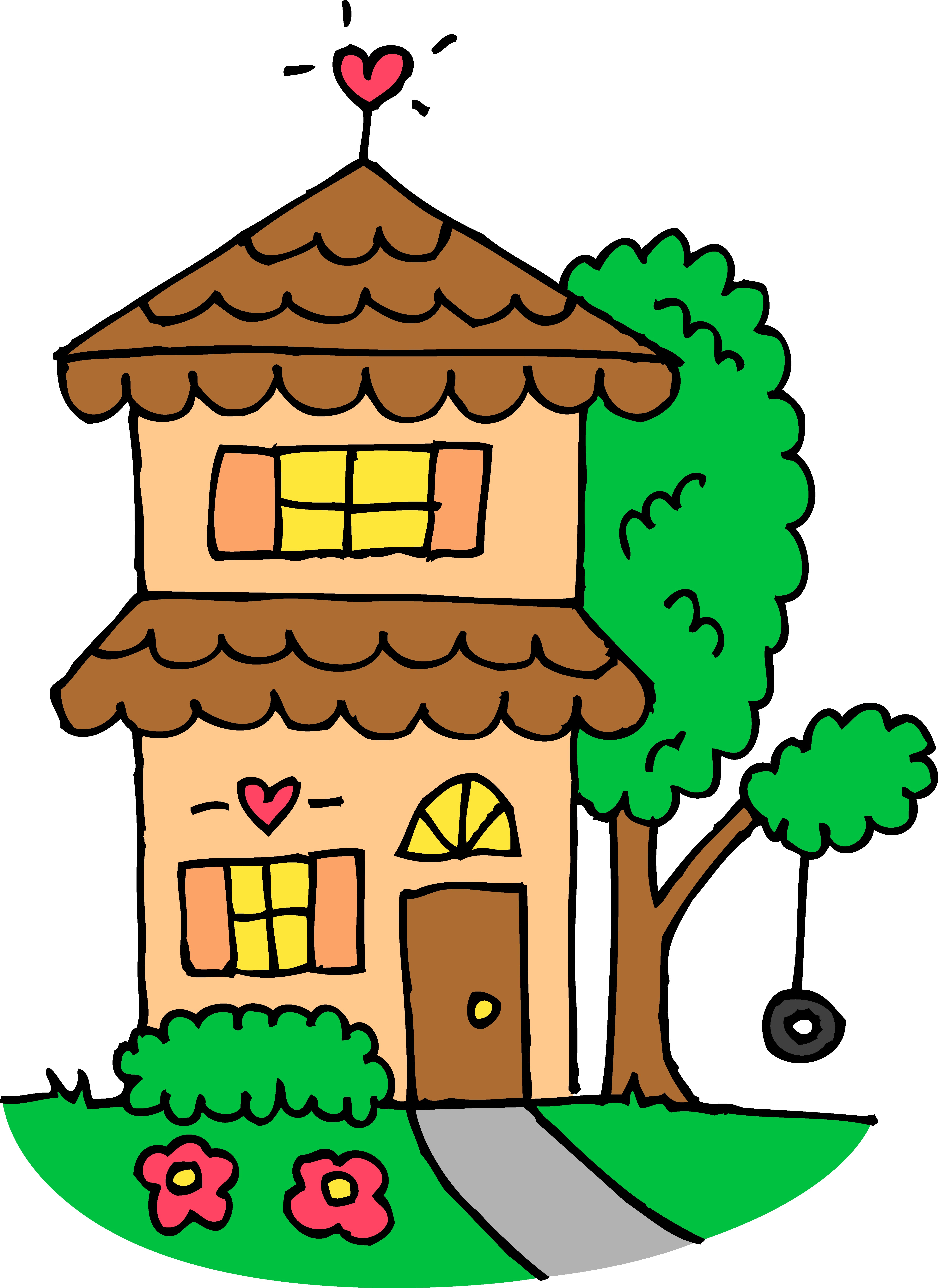 4844x6656 Cute Orange Two Story House Free Clip Art Inside Clipart Of My