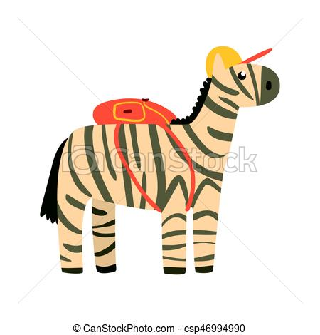 450x470 Cute Cartoon Zebra In Yellow Can And With Backpack On Its Eps