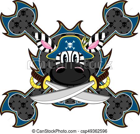 450x431 Cute Cartoon Zebra Pirate Captain With Swords Vector Eps