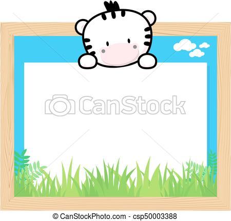 450x431 Cute Zebra Frame. Wood Frame With Cute Baby Zebra And Blank