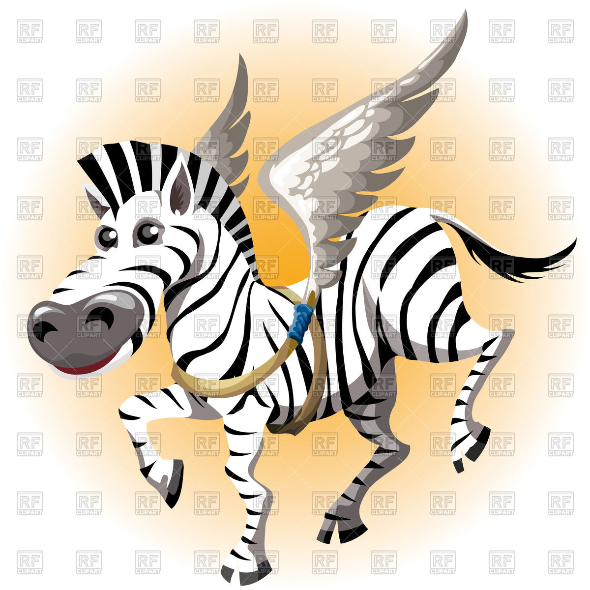 1200x1200 Funny Zebra Tries With Wings In Cartoon Style Royalty Free Vector