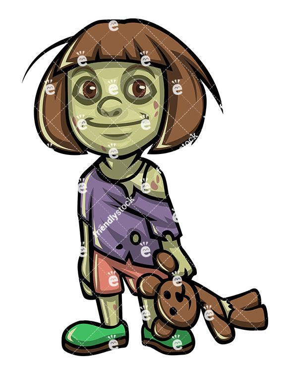 585x755 Cute Little Girl Zombie Vector Cartoon Clipart