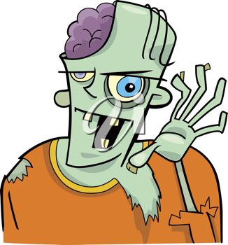 326x350 Clip Art Illustration Of A Smiling And Waving Zombie