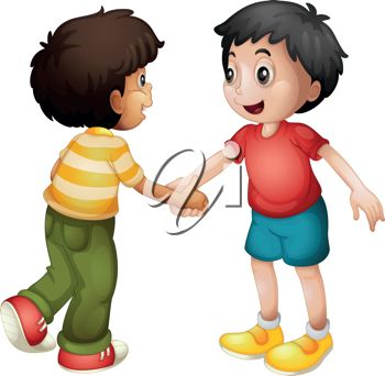 350x342 Clip Art Illustration Of Two Boys Shaking Hands