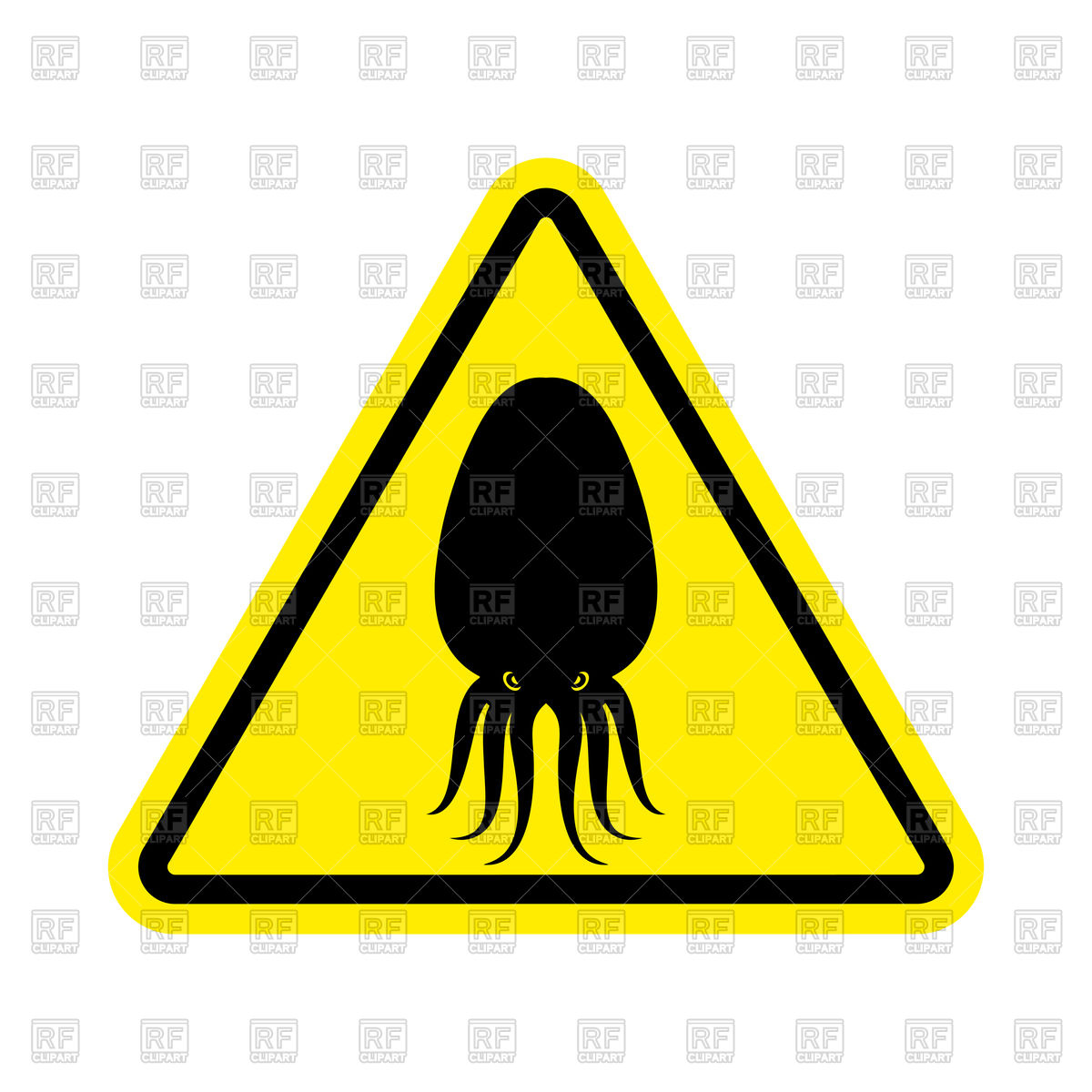 1200x1200 Attention Cuttlefish Yellow Triangle Sign Royalty Free Vector Clip