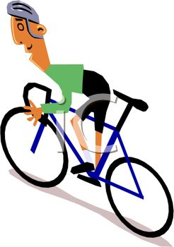 246x350 Clip Art Illustration Of A Man Riding A Blue Bicycle