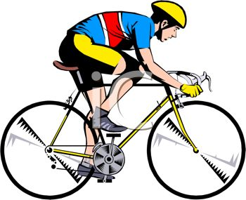 350x285 Clip Art Image Of A Man Riding A Yellow Bicycle