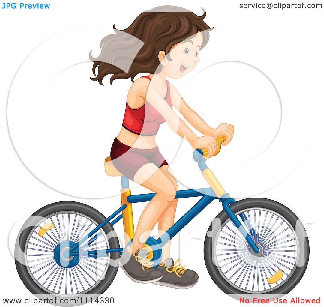 1080x1024 Clipart Happy Brunette Woman In Red Fitness Clothing Riding