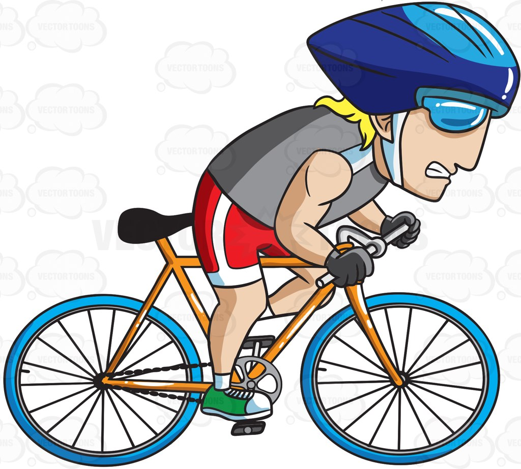1024x923 A Man Pedaling His Bike Extra Fast Cartoon Clipart Vector Toons