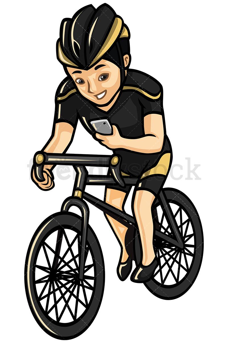 800x1200 Asian Man Texting While Riding A Bike Vector Cartoon Clipart