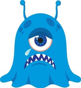 278x300 Monster Clipart Image Creepy Blue Cyclops Monster Or Alien Crying