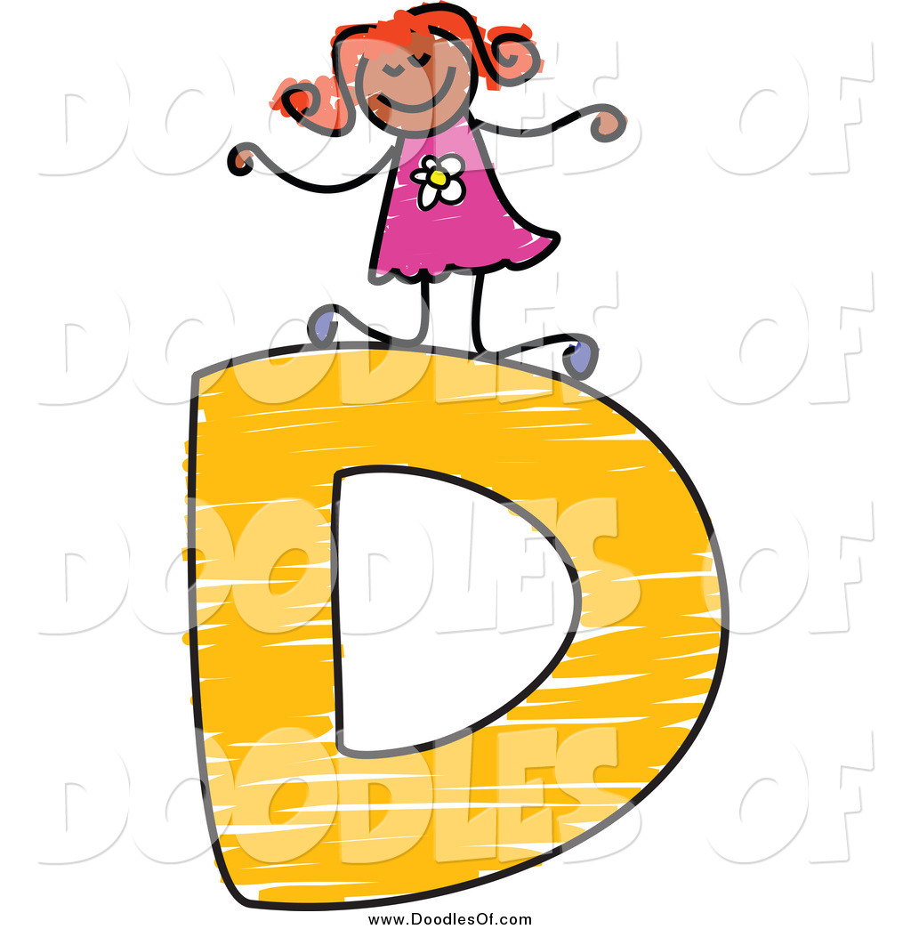 1024x1044 Vector Clipart Of A Happy Doodled Black Stick Girl On A Capital
