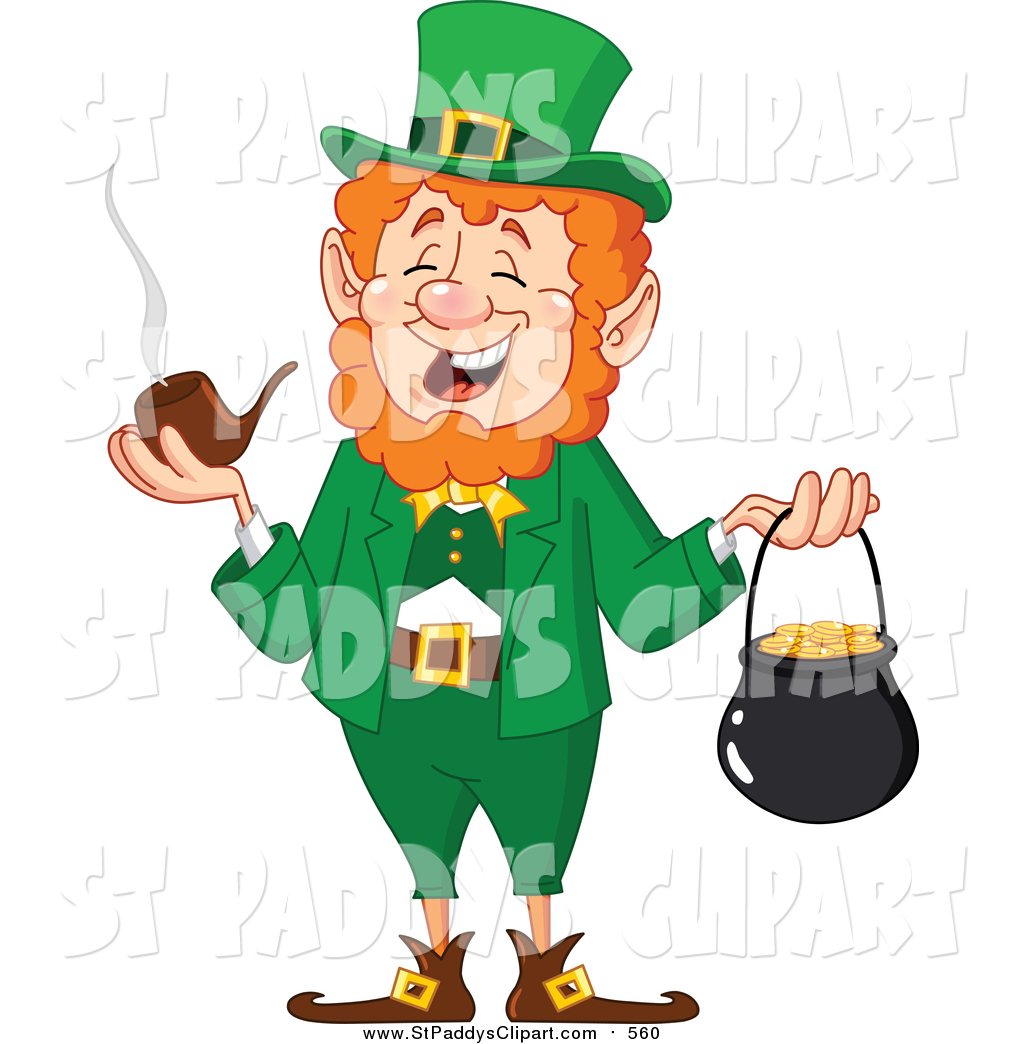 1024x1044 Vector Clip Art Of A St Paddys Day Leprechaun Smoking A Pipe