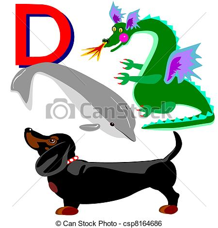 450x470 D Dachshund, Dragon, Dolphin. Illustration Of Animals That Clip