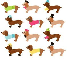 235x208 Dachshund Clip Art Set Dog Clipart, Wiener Dogs, Sausage Dogs