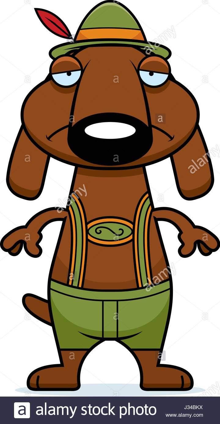 720x1390 A Cartoon Illustration Of A Dachshund In Lederhosen Looking Sad