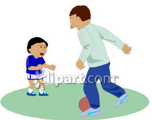 300x238 Dad And Son Playing Soccer With A Ball Clip Art