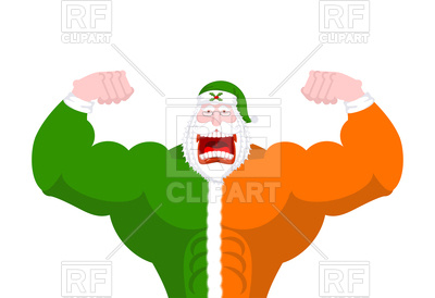 400x274 Strong Irish Santa (Daddy Of Christmas) Royalty Free Vector Clip