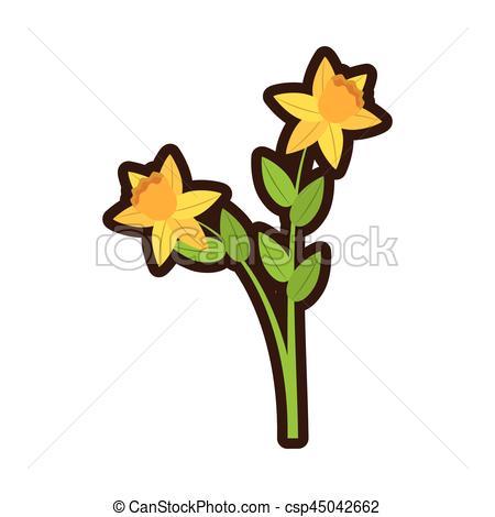450x470 Cartoon Daffodil Flower Spring Floral Vector Illustration Clip