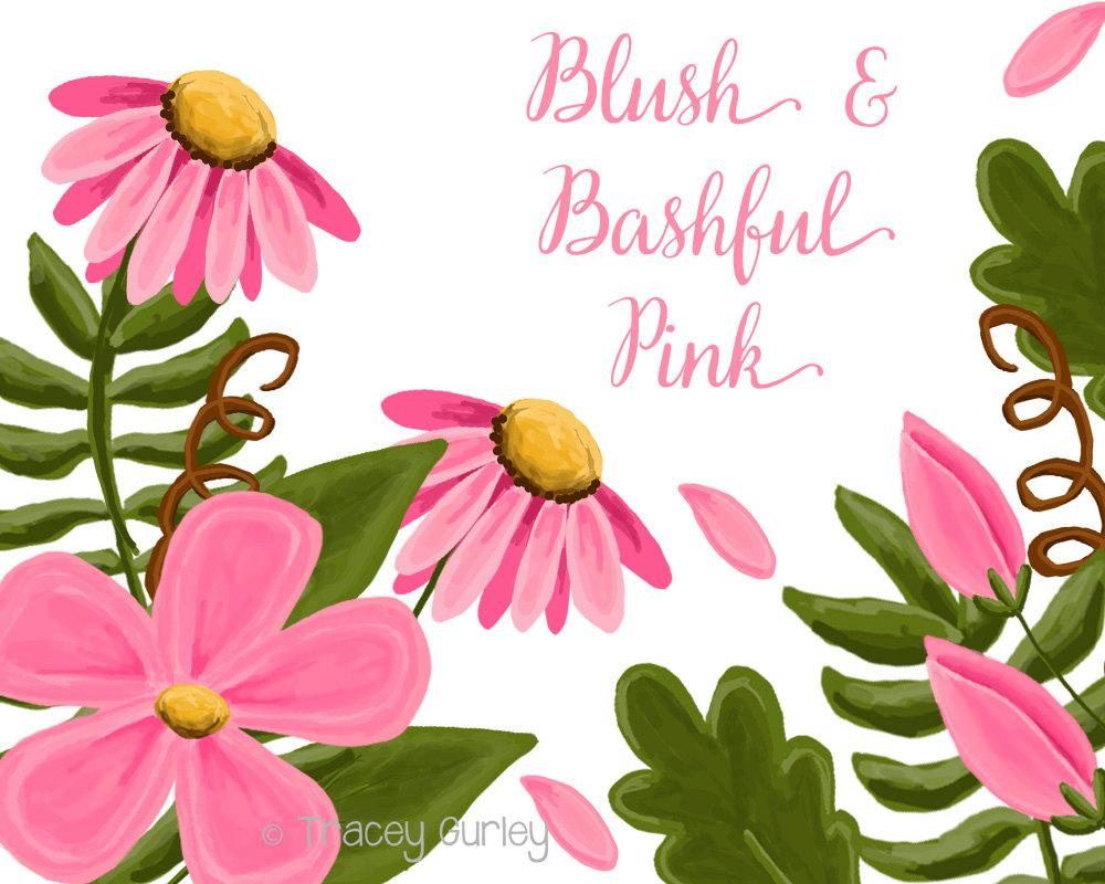 1000x800 Pink Flower Clip Art Set Wedding Invitation Paper Goods
