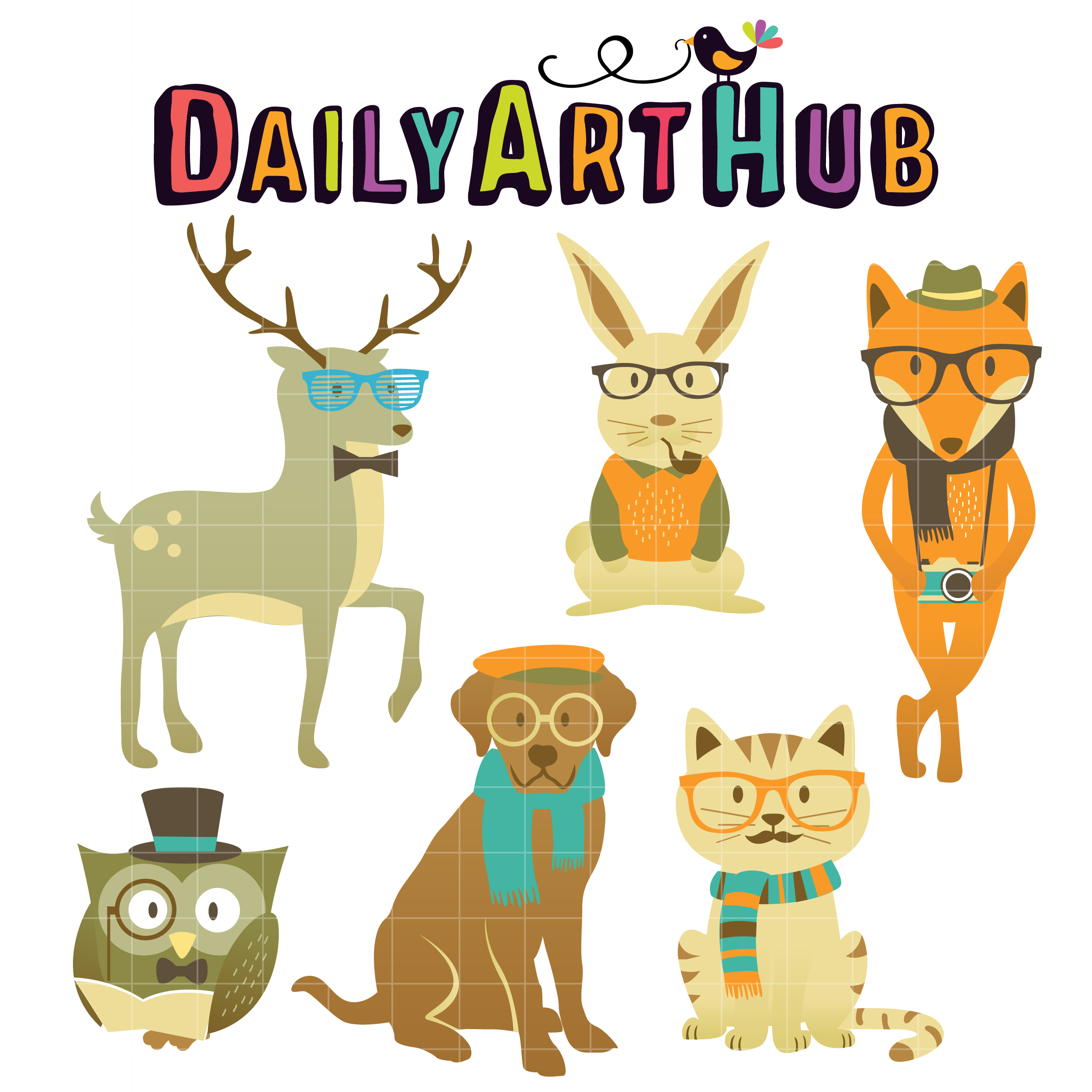 2500x2500 Hipster Animals Clip Art Set Daily Art Hub Free Clip Art Everyday