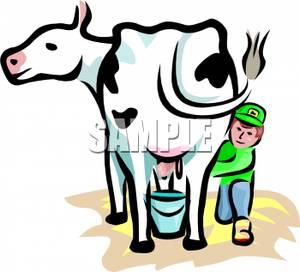300x272 Clip Art Image A Boy Milking A Dairy Cow