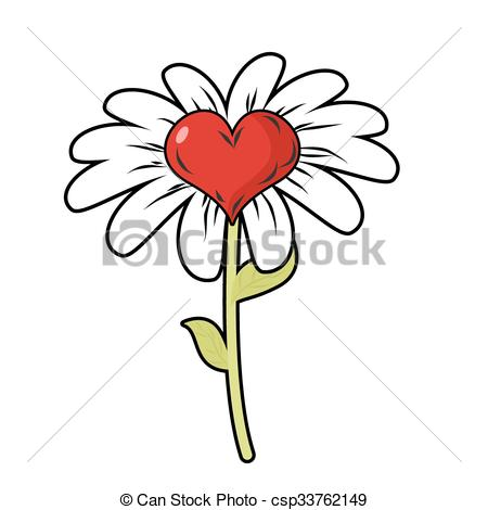 450x470 Flower Of Love. Red Heart Symbol Of Love And Daisy Petals . Eps