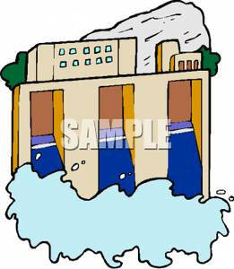 261x300 Clip Art Image A Dam Releasing A Flood Of Water