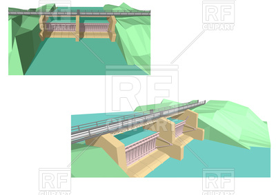 400x283 Two Abstract Dam Isolated On White Royalty Free Vector Clip Art