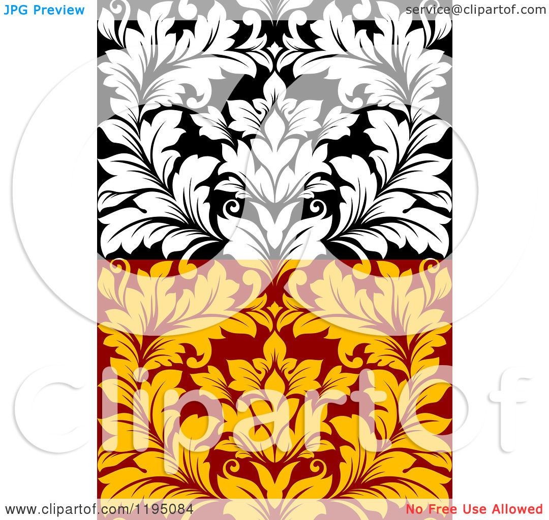 1080x1024 Clipart Of Black And White And Red And Yellow Seamless Damask