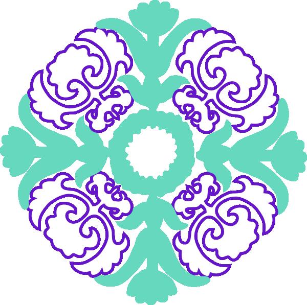 600x597 Damask Flourish Purple Mint Clip Art