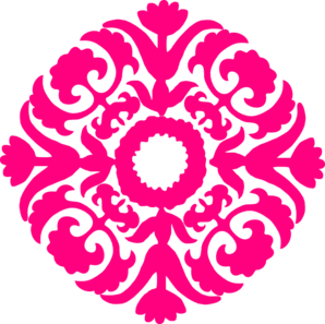 298x297 Hot Pink Damask Flourish Clip Art