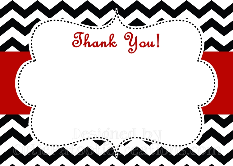 750x535 Most Printable Thank You Cards Black And White Red Chevron Print