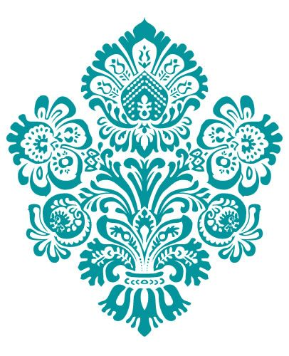406x500 Turquoise Clipart Damask