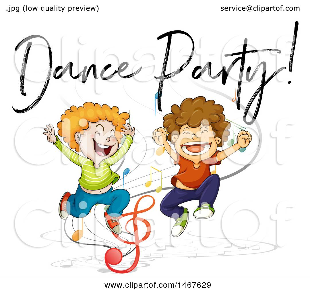 1080x1024 Clipart Of Boys Jumping Under Dance Party Text